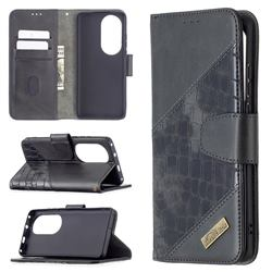 BinfenColor BF04 Color Block Stitching Crocodile Leather Case Cover for Huawei P50 Pro - Black