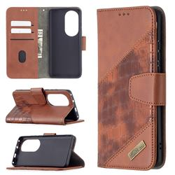 BinfenColor BF04 Color Block Stitching Crocodile Leather Case Cover for Huawei P50 Pro - Brown