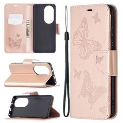 Embossing Double Butterfly Leather Wallet Case for Huawei P50 Pro - Rose Gold
