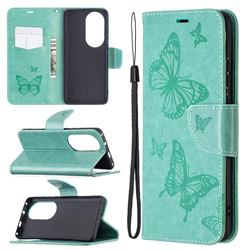Embossing Double Butterfly Leather Wallet Case for Huawei P50 Pro - Green