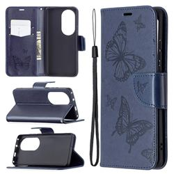 Embossing Double Butterfly Leather Wallet Case for Huawei P50 Pro - Dark Blue