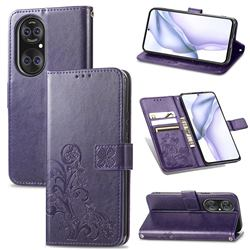 Embossing Imprint Four-Leaf Clover Leather Wallet Case for Huawei P50 Pro - Purple