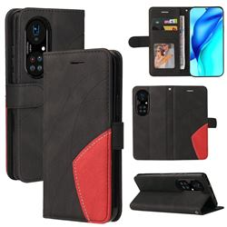 Luxury Two-color Stitching Leather Wallet Case Cover for Huawei P50 Pro - Black