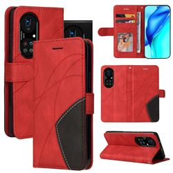 Luxury Two-color Stitching Leather Wallet Case Cover for Huawei P50 Pro - Red