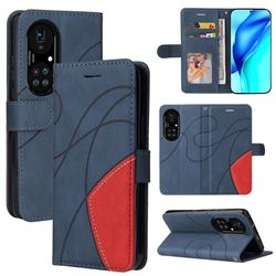 Luxury Two-color Stitching Leather Wallet Case Cover for Huawei P50 Pro - Blue