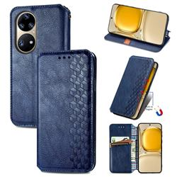 Ultra Slim Fashion Business Card Magnetic Automatic Suction Leather Flip Cover for Huawei P50 Pro - Dark Blue