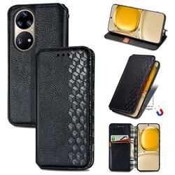 Ultra Slim Fashion Business Card Magnetic Automatic Suction Leather Flip Cover for Huawei P50 Pro - Black