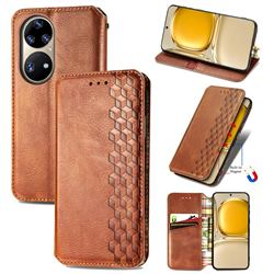 Ultra Slim Fashion Business Card Magnetic Automatic Suction Leather Flip Cover for Huawei P50 Pro - Brown