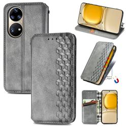 Ultra Slim Fashion Business Card Magnetic Automatic Suction Leather Flip Cover for Huawei P50 Pro - Grey