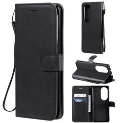 Retro Greek Classic Smooth PU Leather Wallet Phone Case for Huawei P50 Pro - Black