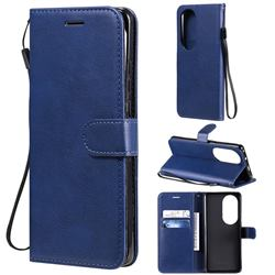 Retro Greek Classic Smooth PU Leather Wallet Phone Case for Huawei P50 Pro - Blue