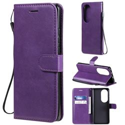 Retro Greek Classic Smooth PU Leather Wallet Phone Case for Huawei P50 Pro - Purple