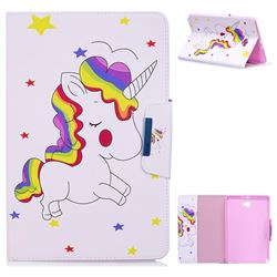 Rainbow Unicorn Folio Flip Stand Leather Wallet Case for Samsung Galaxy Tab A 10.1 with S-Pen P580 P585