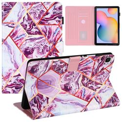 Dream Purple Stitching Color Marble Leather Flip Cover for Samsung Galaxy Tab S6 Lite P610 P615