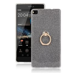 Luxury Soft TPU Glitter Back Ring Cover with 360 Rotate Finger Holder Buckle for Huawei P8 - Black