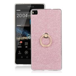 Luxury Soft TPU Glitter Back Ring Cover with 360 Rotate Finger Holder Buckle for Huawei P8 - Pink