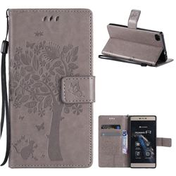 Embossing Butterfly Tree Leather Wallet Case for Huawei P8 - Grey