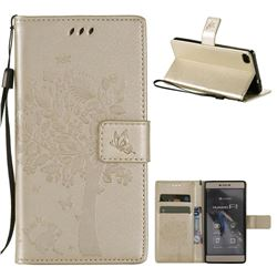 Embossing Butterfly Tree Leather Wallet Case for Huawei P8 - Champagne