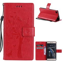 Embossing Butterfly Tree Leather Wallet Case for Huawei P8 - Red