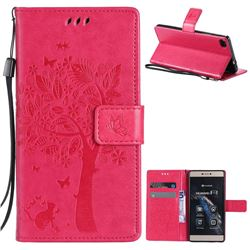 Embossing Butterfly Tree Leather Wallet Case for Huawei P8 - Rose