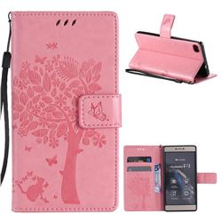 Embossing Butterfly Tree Leather Wallet Case for Huawei P8 - Pink