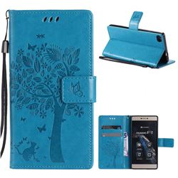 Embossing Butterfly Tree Leather Wallet Case for Huawei P8 - Blue