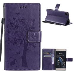Embossing Butterfly Tree Leather Wallet Case for Huawei P8 - Purple
