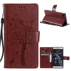 Embossing Butterfly Tree Leather Wallet Case for Huawei P8 - Brown