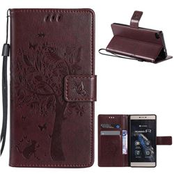 Embossing Butterfly Tree Leather Wallet Case for Huawei P8 - Coffee