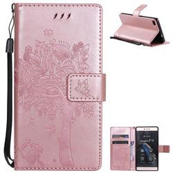 Embossing Butterfly Tree Leather Wallet Case for Huawei P8 - Rose Pink