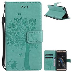 Embossing Butterfly Tree Leather Wallet Case for Huawei P8 - Cyan