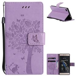 Embossing Butterfly Tree Leather Wallet Case for Huawei P8 - Violet