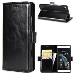 Luxury Crazy Horse PU Leather Wallet Case for Huawei P8 - Black