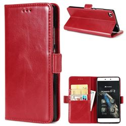 Luxury Crazy Horse PU Leather Wallet Case for Huawei P8 - Red