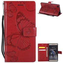 Embossing 3D Butterfly Leather Wallet Case for Huawei P8 - Red