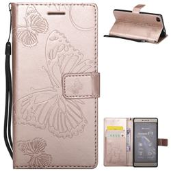 Embossing 3D Butterfly Leather Wallet Case for Huawei P8 - Rose Gold