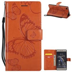 Embossing 3D Butterfly Leather Wallet Case for Huawei P8 - Orange