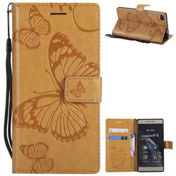 Embossing 3D Butterfly Leather Wallet Case for Huawei P8 - Yellow