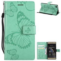 Embossing 3D Butterfly Leather Wallet Case for Huawei P8 - Green