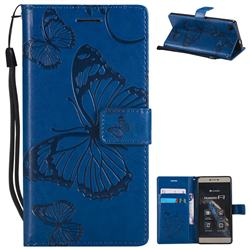 Embossing 3D Butterfly Leather Wallet Case for Huawei P8 - Blue
