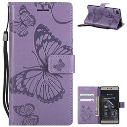 Embossing 3D Butterfly Leather Wallet Case for Huawei P8 - Purple