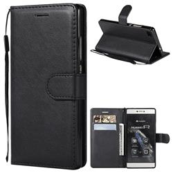 Retro Greek Classic Smooth PU Leather Wallet Phone Case for Huawei P8 - Black