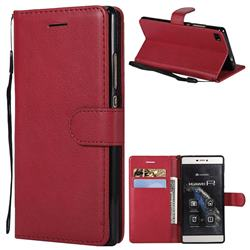 Retro Greek Classic Smooth PU Leather Wallet Phone Case for Huawei P8 - Red