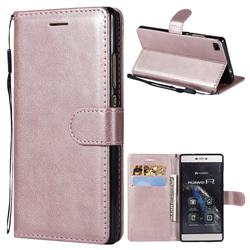 Retro Greek Classic Smooth PU Leather Wallet Phone Case for Huawei P8 - Rose Gold