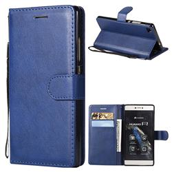 Retro Greek Classic Smooth PU Leather Wallet Phone Case for Huawei P8 - Blue