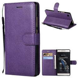Retro Greek Classic Smooth PU Leather Wallet Phone Case for Huawei P8 - Purple