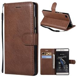 Retro Greek Classic Smooth PU Leather Wallet Phone Case for Huawei P8 - Brown