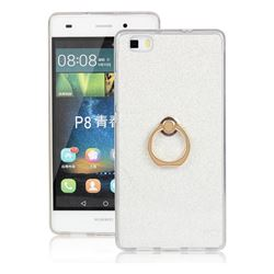 Luxury Soft TPU Glitter Back Ring Cover with 360 Rotate Finger Holder Buckle for Huawei P8 Lite P8lite - White