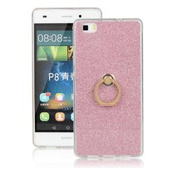 Luxury Soft TPU Glitter Back Ring Cover with 360 Rotate Finger Holder Buckle for Huawei P8 Lite P8lite - Pink