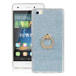Luxury Soft TPU Glitter Back Ring Cover with 360 Rotate Finger Holder Buckle for Huawei P8 Lite P8lite - Blue